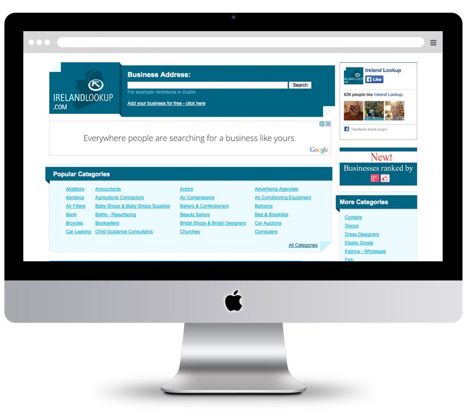 עיצוב אתר וממשק משתמש לחיפוש אנשי מקצוע ireland lookup